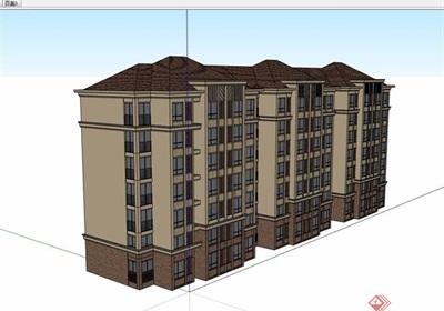 歐式風格詳細的六層完整住宅樓設計su模型