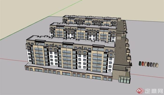 多層住宅+商業建筑樓su模型