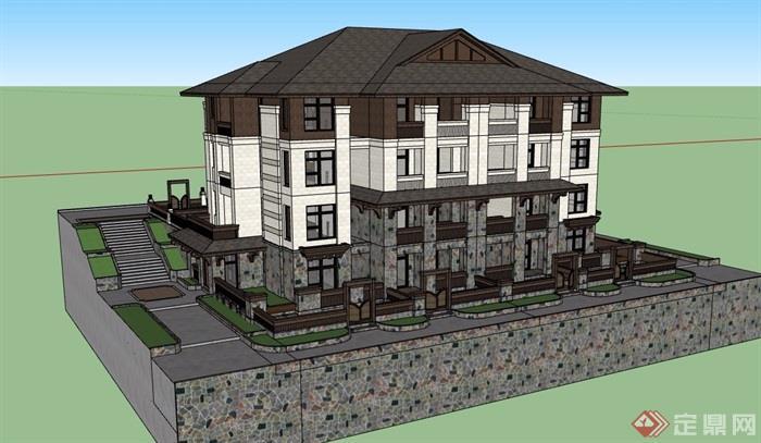 東南風洋房住宅樓多層設計su模型