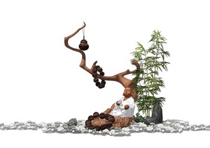 新中式景观小品 竹子 石头 枯枝 佛像组合SU(草图大师)模型