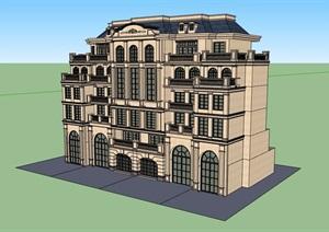 美式风格洋房住宅楼设计SU(草图大师)模型