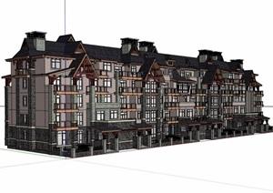 美式多层详细完整的住宅楼SU(草图大师)模型