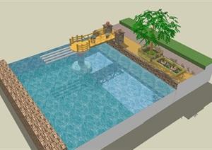 滨河小桥 景观 bridge sightSU(草图大师)模型