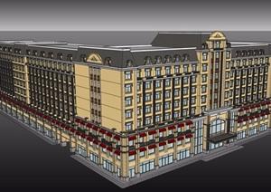 美式风格商住楼设计SU(草图大师)模型