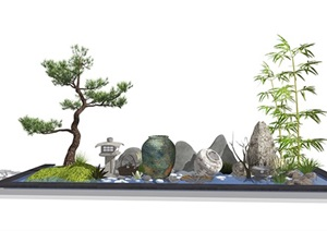 新中式景观小品 庭院小品 石头滨水 陶罐组合SU(草图大师)模型