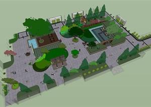 新中式文化广场设计SU(草图大师)模型