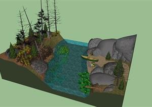 山间自然河流钓鱼景观SU(草图大师)模型