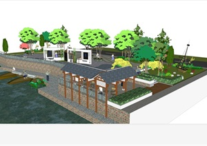 滨河城市小广场景观设计SU(草图大师)模型
