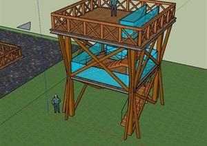 广东湿地景观观景台模型方案设计