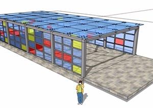 详细的完整玻璃车库入口廊架SU(草图大师)模型