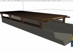 详细的整体完整车库入口廊架素材SU(草图大师)模型