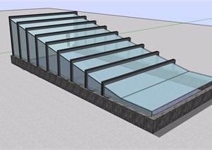 详细的完整玻璃车库廊架素材SU(草图大师)模型