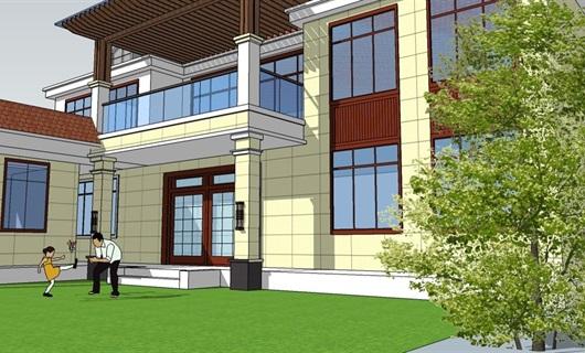 山西运城地区二层自带庭院自建别墅