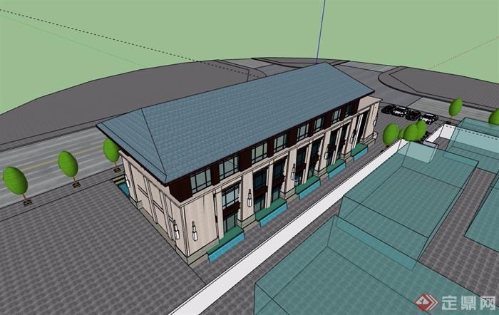 中式风格售楼部项目建筑su模型
