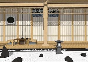 日式庭院小品枯山石灯园艺小品SU(草图大师)模型