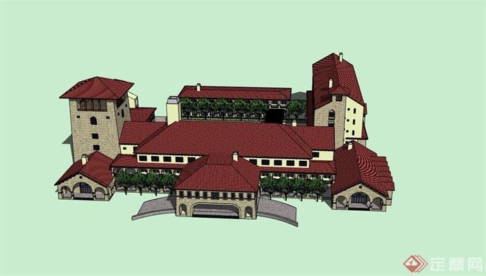 欧式风格详细完整度假酒店设计su模型