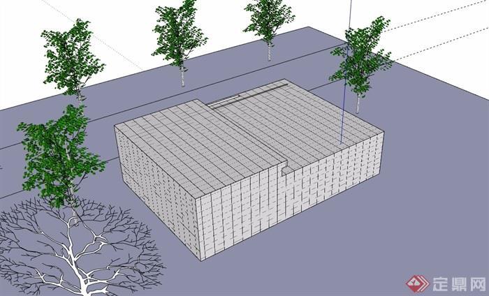 三层详细的小小售楼处设计su模型