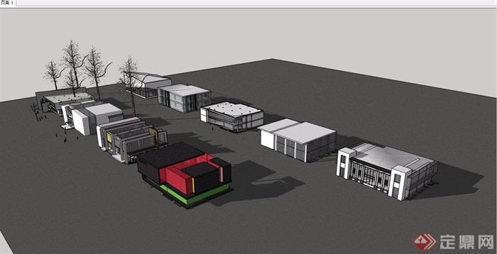 9个现代售楼处精模设计su模型