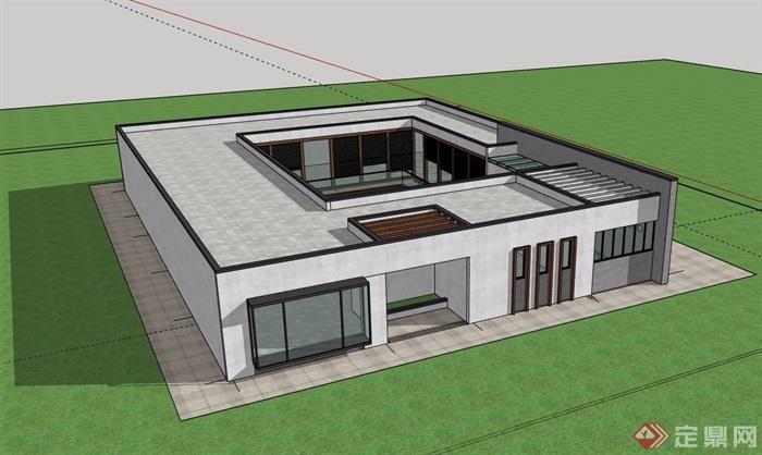 现代详细单层售楼处建筑su模型