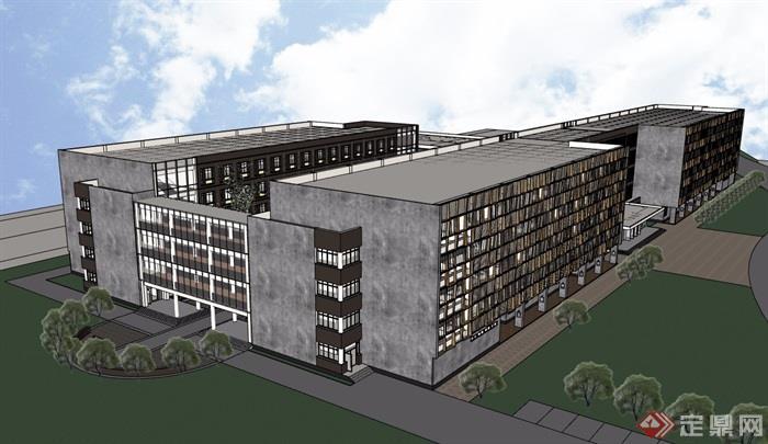五层学校系馆改建设计su模型