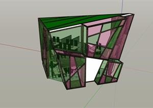两层独特的餐饮建筑SU(草图大师)模型