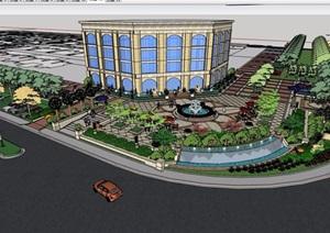 简欧风格多层售楼处建筑及景观设计SU(草图大师)模型