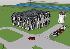 美式风格两层售楼处建筑SU(草图大师)模型