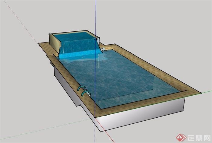 温泉水池泳池设计su模型