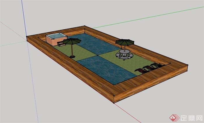 园林景观节点温泉泳池设计su模型