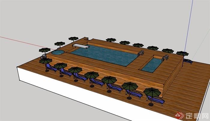 某详细的完整温泉泳池设计su模型