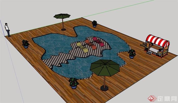 某详细的完整温泉泳池素材设计su模型