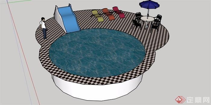 圆形详细的温泉泳池设计su模型