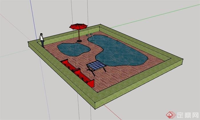 整体详细完整的温泉泳池素材设计su模型