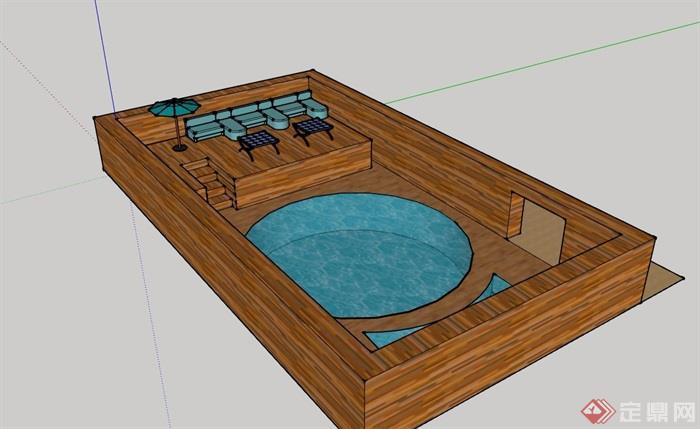 详细的完整温泉泳池素材设计su模型