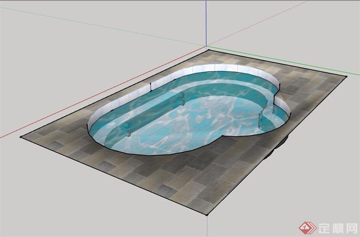 详细的泳池素材设计su模型