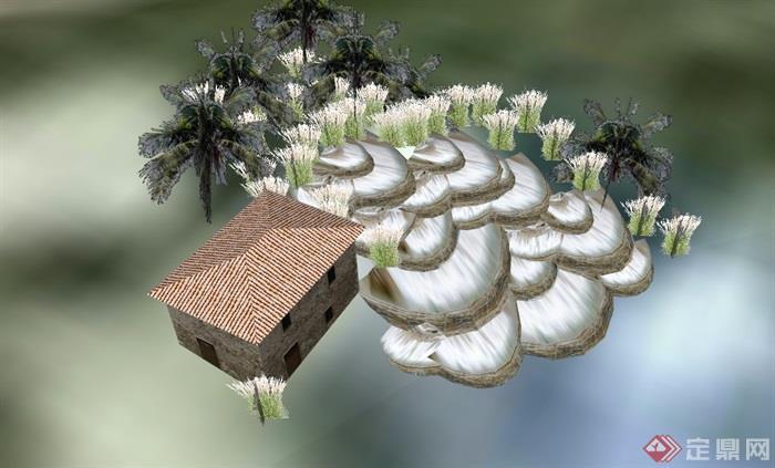 跌水详细的水景素材设计su模型