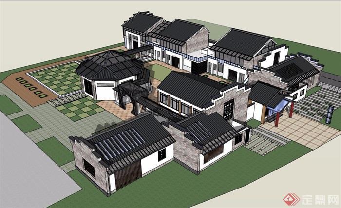 新中式幼儿园多层设计su模型