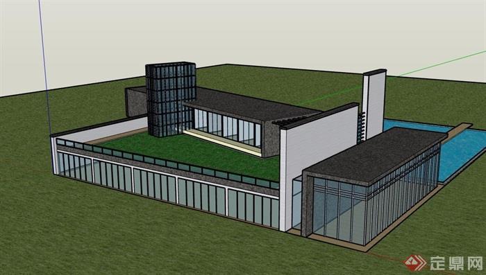 某现代私人会所及泳池设计su模型