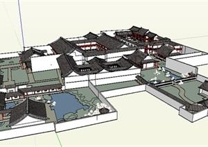 中式风格单层园林旅游建筑设计SU(草图大师)模型