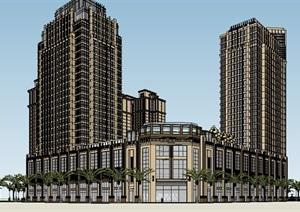 现代风格高层商业小区建筑