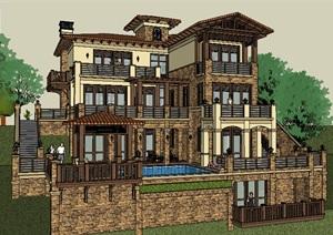 西方古典风格多层别墅建筑