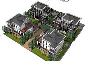 西方新古典风格多层别墅组团建筑