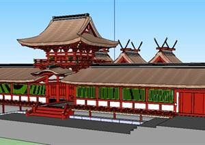 古典风格单层旅游建筑SU(草图大师)模型
