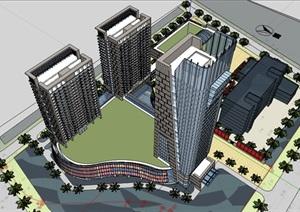 现代风格高层商业综合体建筑