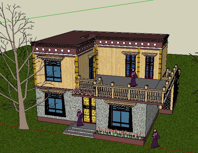 293-藏式民居,现代主义风格,2层(2)