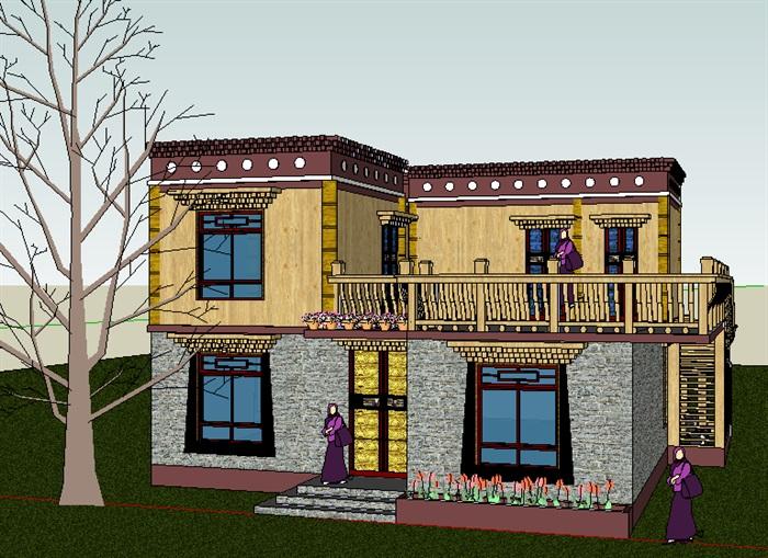293-藏式民居,现代主义风格,2层(4)
