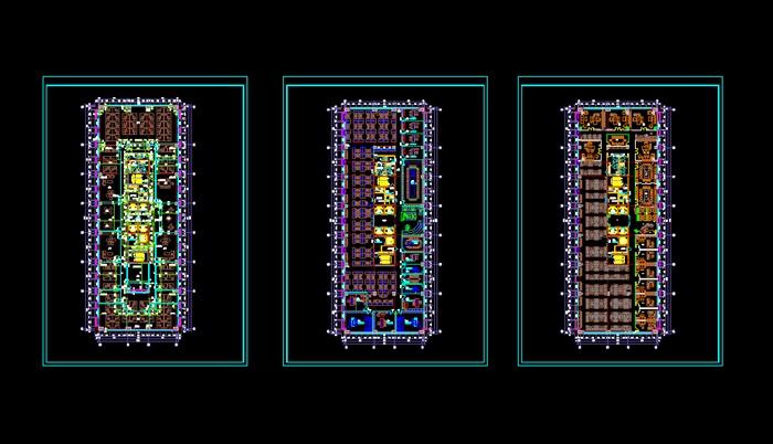 详细办公室布局建筑设计方案cad图(1)