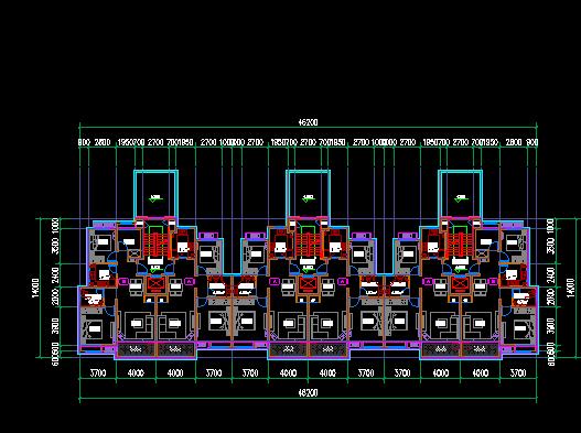 洋房户型详细建筑方案设计cad图(5)