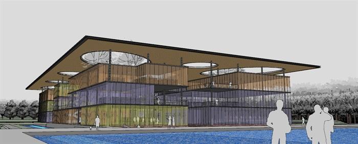 现代创意大屋顶覆盖体块穿插式连廊连接开放式文化图书馆艺术活动中心(1)