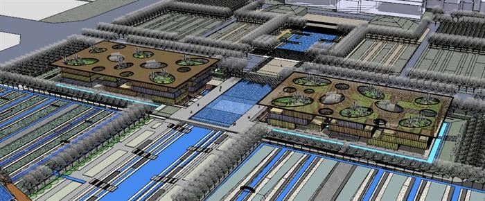 现代创意大屋顶覆盖体块穿插式连廊连接开放式文化图书馆艺术活动中心(2)